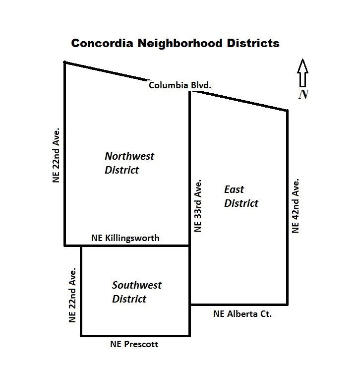 Concordia Neighborhood Portland Oregon distrcit map
