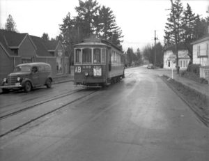 A photo from June 1940 looking north on NE 30th of the Alberta Streetcar at its far northern end, NE 30th and Ainsworth. Only the building on the northeast corner remains. Photo courtesy of City of Portland Archives.