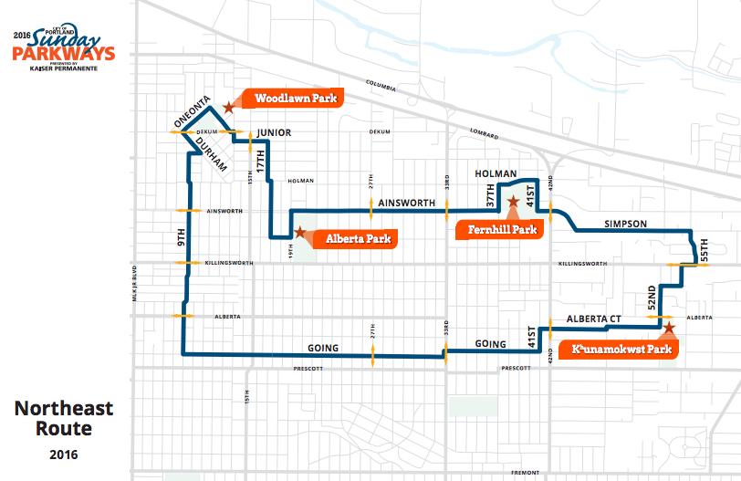 NE Sunday Parkways 2016 Route