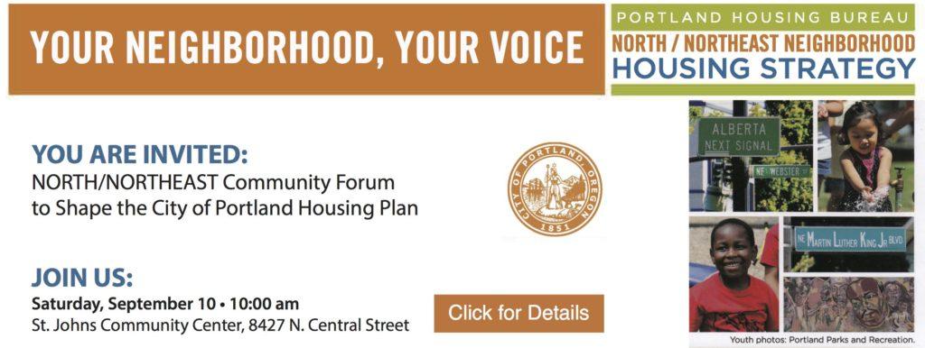 Housing Forum | Sep 10, 10am | St. Johns Community Center, 8427 N. Central Street