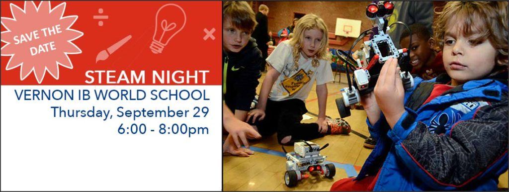 STEAM Night at Vernon Sept 29, 6-8pm