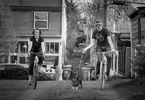 Erinne Goodell and Kirk Paulsen bike riding