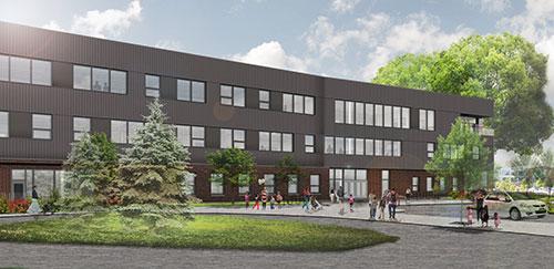 Faubion School north entrance rendering