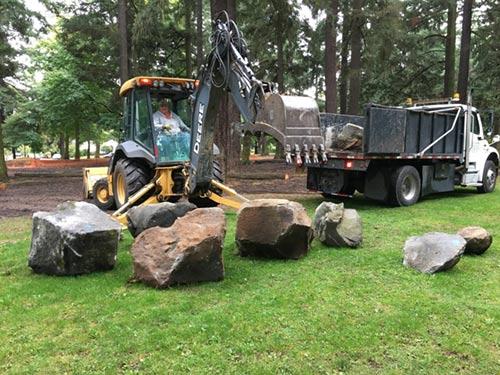 Boulders being placed in Alberta Park