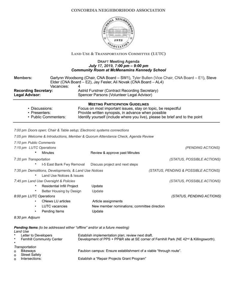 CNA LUTC Agenda: July, 2019