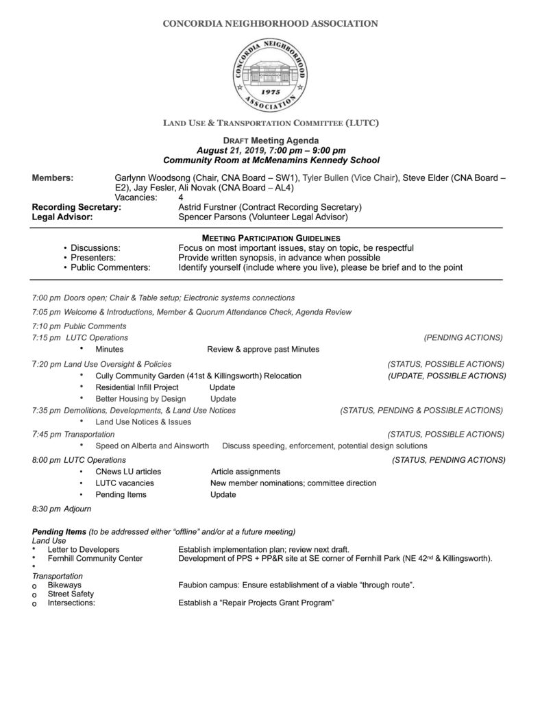 CNA LUTC DRAFT Agenda, Wednesday, August 21, 2019